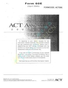 act assessment 60E Apr 2005