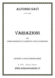 Alfonso Savi - Variazioni for Basset Horn (or Clar