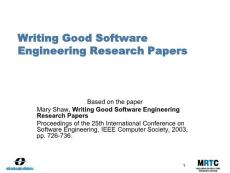 Writing good software engineering technical papers