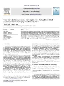 Computer aided analysis on the meshing behavior of a height-modified dual-torus double-enveloping toroidal worm drive