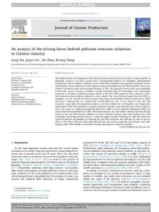 An analysis of the driving forces behind pollutant emission reduction in Chinese industry