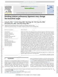 Dividing inferior pulmonary ligament may change the bronchial angle