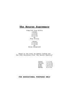 The Bourne Supremacy - Daily Script