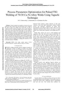Process Parameters Optimization for Pulsed TIG Welding of...