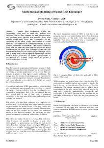 mathematical modeling of spiral heat exchanger