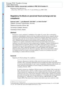 regulatory fit effects on perceived fiscal exchange and tax has compliance