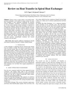 Review on Heat Transfer in Spiral Heat Exchanger