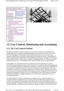 Project Management For Construction Cost Control  Monitoring And Accounting