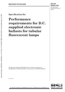 BS-EN-60925-1991 Specification for Performance requirements for D.C. supplied electronic ballasts for tubular fluorescent lamps