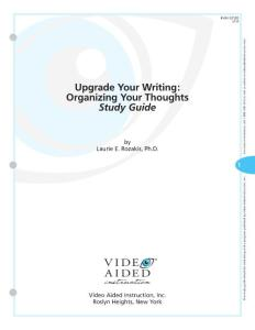 The Complete Upgrade Your Writing Series DVD2 - Organizing Your Thoughts