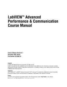 LabvieAdvanced performance communication course manual