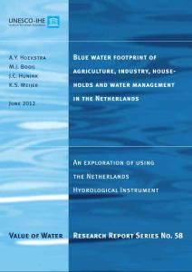 Value of Water Research Report Series No 58 Value of Water