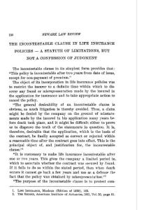 THE INCONTESTABLE CLAUSE IN LIFE INSURANCE The ...不可抗辩条款人寿保险...