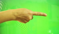 Touch screen hand on green screen for smart phone , tablet绿布抠像素材