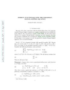 Energy Functionals for the Parabolic Monge-Ampere Equation