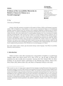 Evidence of the Accessibility Hierarchy in Relative Clauses in Chinese as a Second Language
