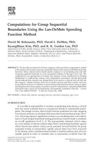 Computations for group sequential boundaries using the Lan-DeMets spending function method