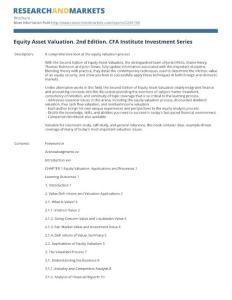 Equity Asset Valuation. 2nd Edition. CFA Institute ...