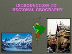 Introduction to Regional Geography - a