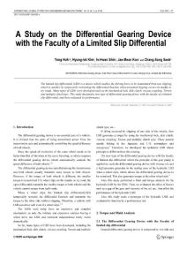 A study on the differential gearing device with the faculty of a limited slip differential