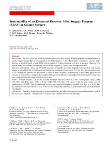 Sustainability of an Enhanced Recovery After Surgery Program (ERAS) in Colonic Surgery