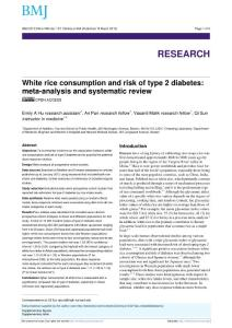 White rice consumption and risk of type 2 diabetes meta-analysis and systematic review