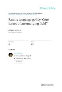 Family language policy Core issues of an emerging field