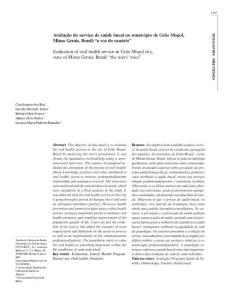 Evaluation of oral health service in Gr  227;o Mogol city, state of…