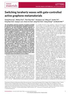 Switching terahertz waves with gate-controlled active graphene...