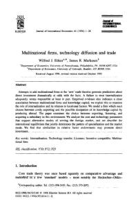 Multinational firms technology diffusion and trade