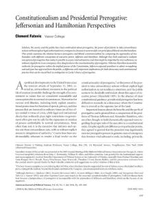 constitutionalism and presidential prerogative jeffersonian and hamiltonian perspectives