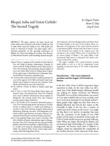 bhopal  india and union carbide the second tragedy