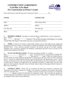 CONSTRUCTION AGREEMENT (Cost Plus A Fee Basis ...