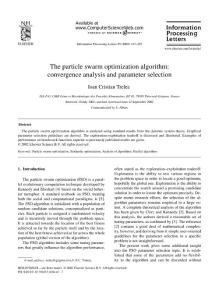 The particle swarm optimization algorithm:convergence analysis and parameter selection