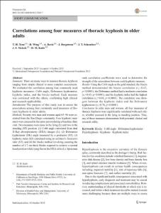 Correlations among four measures of thoracic kyphosis in older adults(老年人胸椎后凸畸形四项指标的相关性)