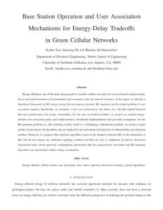Base Station Operation and User Association mechanisms for energy-delay tradeoffs in green cellular networks