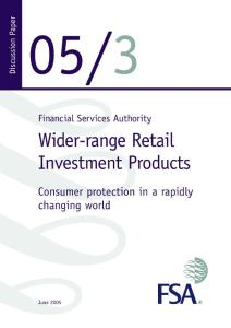 Wider-range Retail Investment Products - Consumer protection in a ...