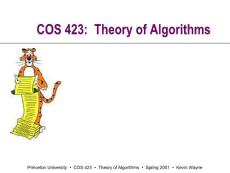COS 423  Theory of Alg..