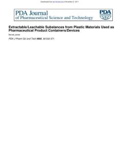 Extractable leachable substances from plastic materials used as pharmaceutical product containers devices