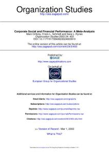 Corporate Social and Financial Performance