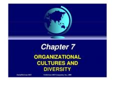Management in a Cross-cultural Environment Chapter 7 ORGANIZATIONAL CULTURES AND DIVERSITY