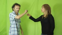 Couple arguing\. Free stock footage green screen绿布抠像素材
