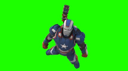 6、War Machine Iron Patriot fly animated front chroma